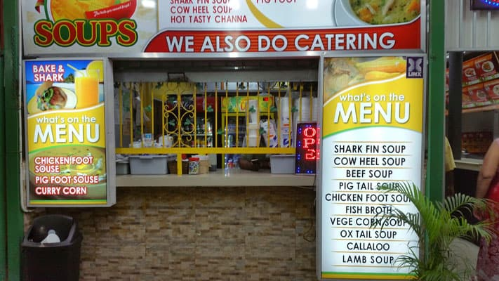 What to eat in Trinidad, menus outside of a Trinidadian restaurant