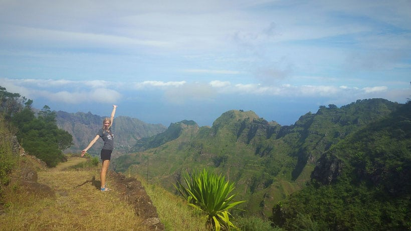 hiking in santo antao view over lush valley in corda