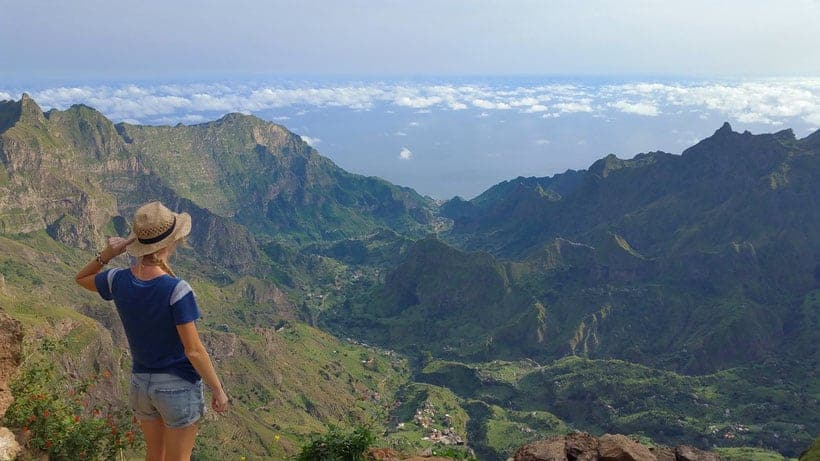 cova crater view to paul, hiking in santo antao, cabo verde