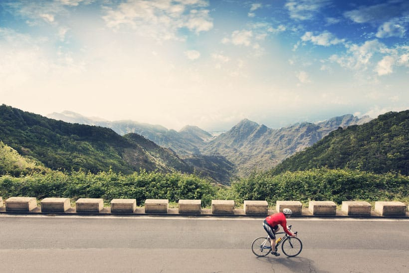discover tenerife by bicycle, cyclist on his bike in tenerife, adventure, sport