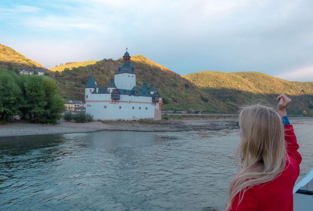 The Best German cities on the Rhine river, view of Oberwesel Village from Rhine River cruise