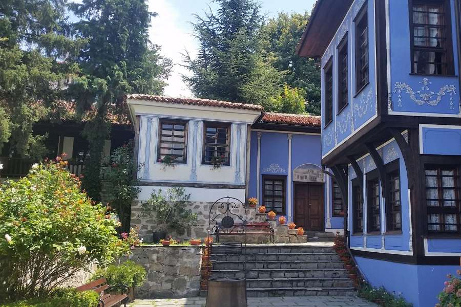 old revival blue house in old town plovdiv bulgaria