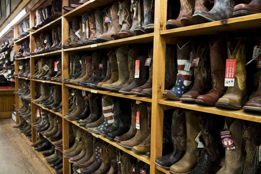 what to do in wisconsin dells, rows and rows of boots for sale