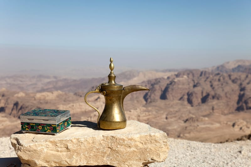 Coffee pot with view over the Petra area in Jordan, things to do in amman, jordanian coffee