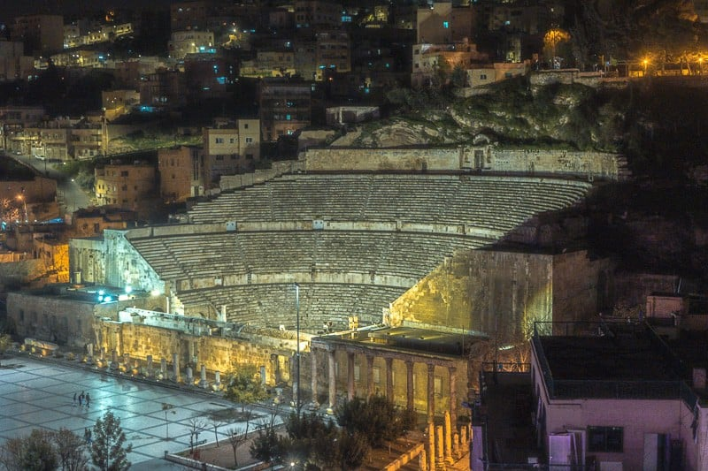 things to do in amman at night, view of the roman theatre at night