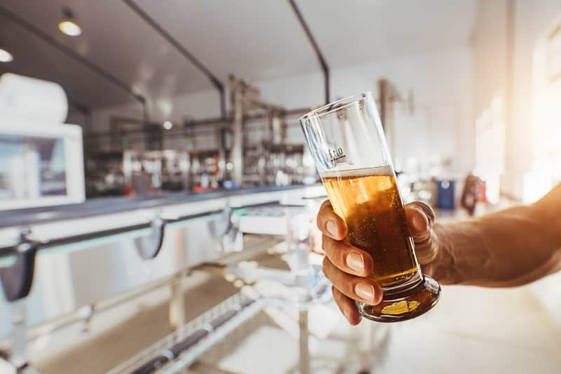 best attractions in wisconsin dells for adults, close up of man hand holding a sample glass of beer.