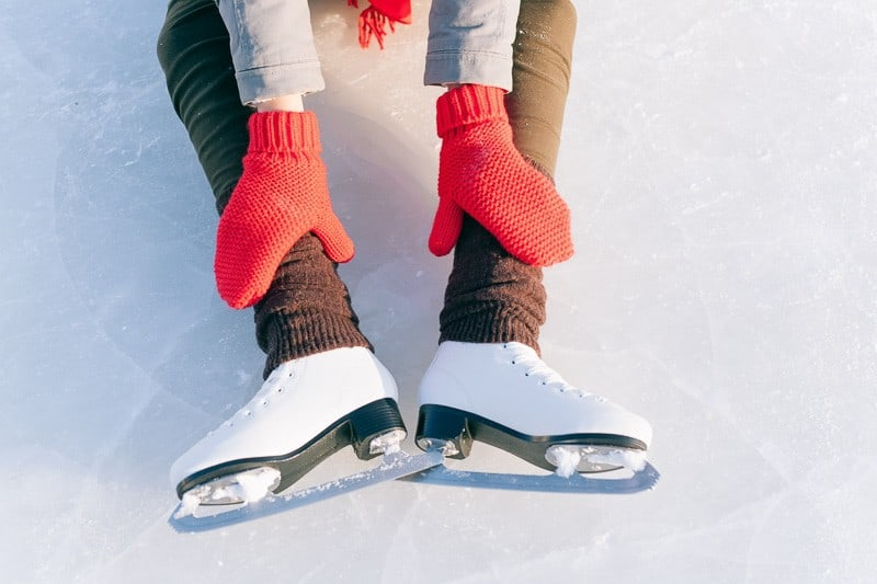 fun things to do in the winter, Tilted blue version, ice skates with reflection