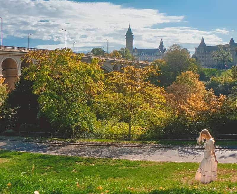 luxembourg city in fall with fall foliage, panorama view of luxembourg