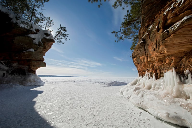 Cool Things to do in Apostle Islands, WI, best view of Apostle Islands Ice Caves on frozen Lake Superior, Wisconsin