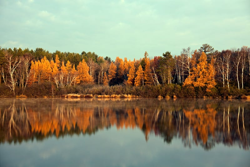 best hiking places in wisconsin, Fall in Tomahawk, Wisconsin. Colorful trees reflected in the lake.