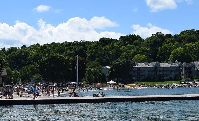 Cool Things to Do in Door County, WI , View of Sister Bay Beach and restaurants