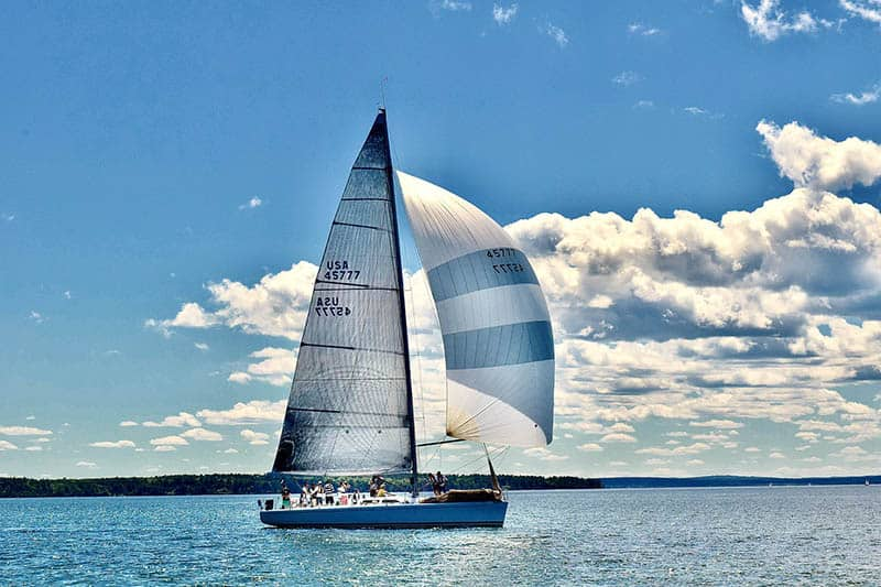 apostle island tours of the lake, Sailing boat on blue water in Apostle Islands