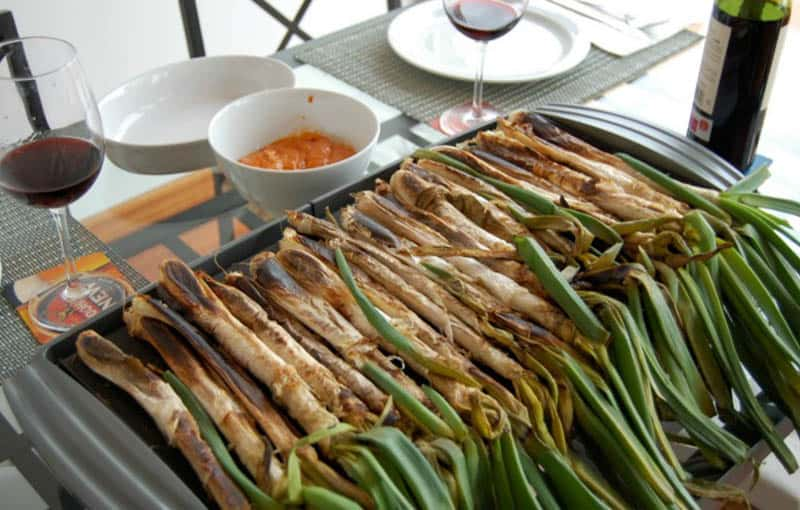 traditional Food from Barcelona and Catalunya in Spain, Calcots dish