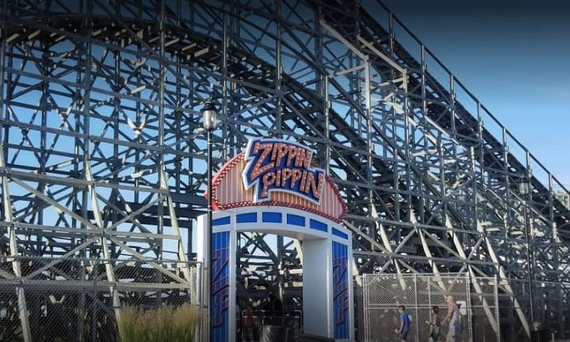 Cool things to do in Green Bay, front view of Zippin Pippin Roller Coaster