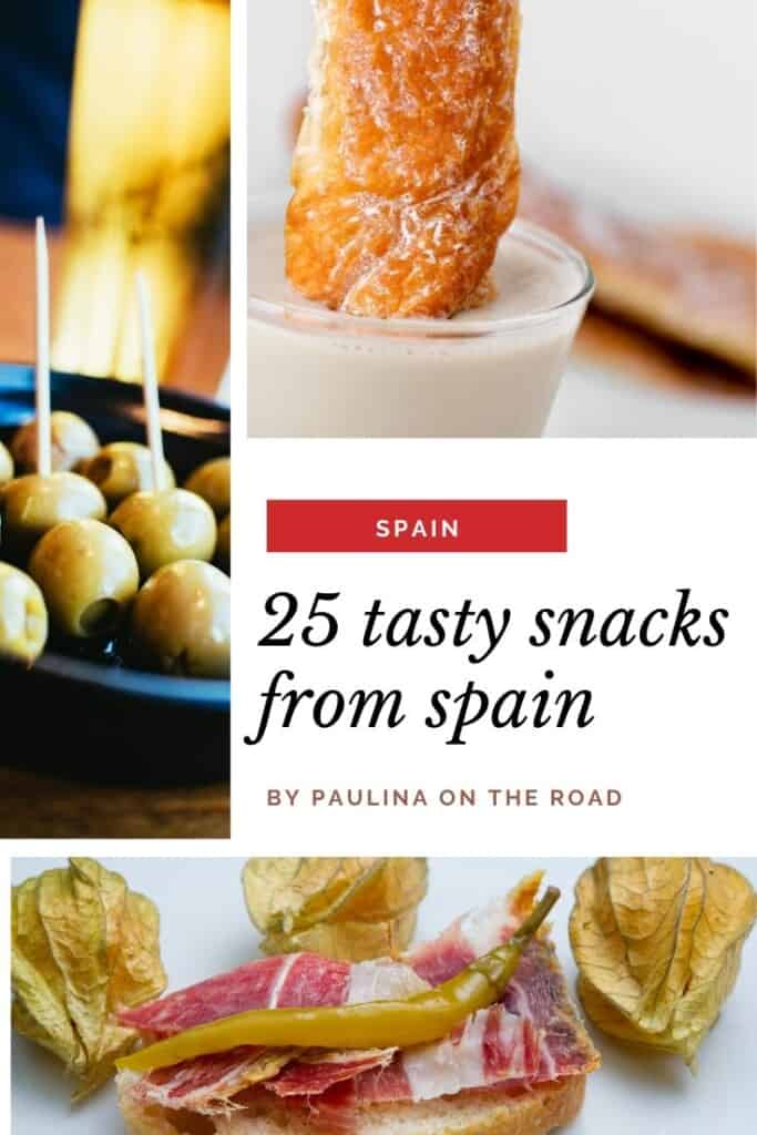 Are you looking for typical snacks from Spain? Find a complete list with Spanish snacks including sweet snacks and salty snacks from Spain. Many of these are also considered great snacks from Spain for kids. The good thing is that if you can't travel to Spain, I included the recipes for you. These are great finger food from Spain and tapas too! The good news are that you can order some famous Spanish food online too! Find it all out. #spain #spanishfood #tapas #spanishsnacks #snacks #snacksfromspain